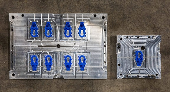 silicone rubber housed in injection mold blocks